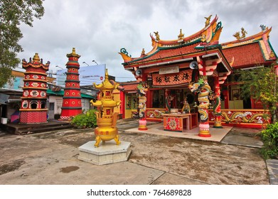 """PHUKET TOWN, THAILAND - AUG 13,2016: One of the Chinese temples (""""shrine""""), which is located on the Phuket road and was built in the 19th century."""