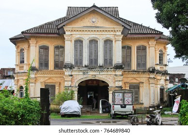 """PHUKET TOWN, THAILAND - AUG 13,2016: The historical center of Phuket-Town. The house of Luang Nararak - owner of mines - on Dibuk road. A typical example of beautiful mansion """"Portuguese"""" architecture"""