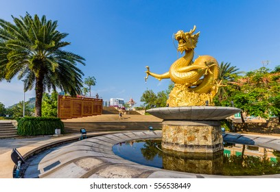 PHUKET TOWN, THAILAND - MARCH 25, 2016: Hai Leng Ong Statue (Golden Sea Dragon) at Queen Sirikit Park on March 25, 2016 in Phuket Town - Thailand.