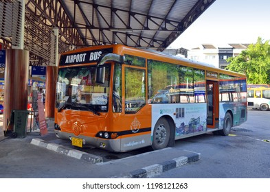 Phuket Town, Thailand - May 1, 2017: The Airport Bus at Phuket Bus Terminal 1 on Phangnga Road.