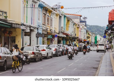 Phuket Town, Thailand - May 19, 2018: Famous tourist attraction of sino-portuguese architecture shop houses on Thalang road's walking street (Lard Yai) in Phuket Old Town.