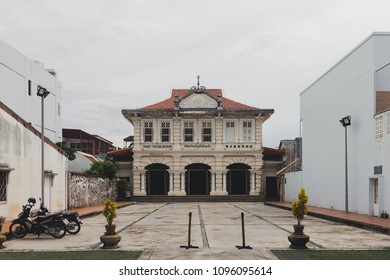 Phuket Town, Thailand - May 19, 2018: Beautiful old sino-portuguese architecture building at Thai Hoi Museum, the former Chinese-language school on Krabi Road in Phuket Old Town.