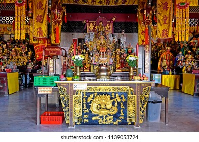 Phuket Town, Thailand - May 3, 2015: Inside Jui Tui Shrine, a colorful Chinese shrine on soi Phutorn.