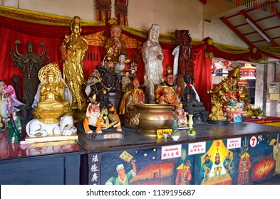 Phuket Town, Thailand - May 3, 2015: Inside Put Cho Shrine, or Put Jaw Shrine, located on soi Phutorn.