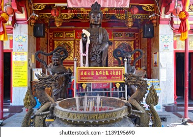 Phuket Town, Thailand - May 3, 2015: In the enclosure of Put Cho Shrine, or Put Jaw Shrine, located on soi Phutorn.