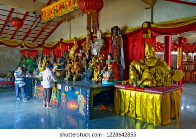 Phuket Town, Thailand - May 3, 2015: Worshippers at Put Cho Shrine, or Put Jaw Shrine, located on soi Phutorn.