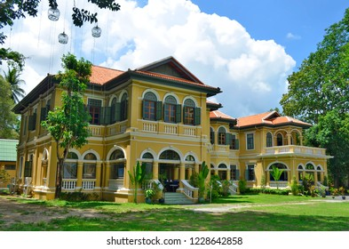Phuket Town, Thailand - May 3, 2015: This Sino-Portuguese mansion on Krabi Road known as the Governor's Mansion now is a restaurant.