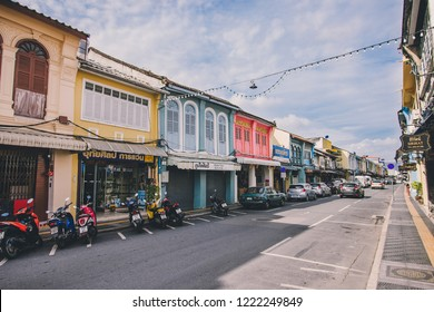 Phuket Town, Thailand - November 4, 2018: Famous tourist attraction of historical sino-portuguese architecture shop houses on Thalang road's walking street (Lard Yai) in Phuket Old Town.