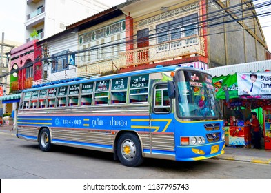 Phuket Town, Thailand - October 16, 2014: Local bus to Patong beach at the Ranong Road bus station.
