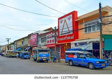 Phuket Town, Thailand - October 16, 2014: Songthaews at the Ranong Road bus station.