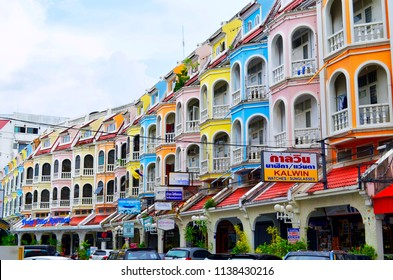 Phuket Town, Thailand - October 16, 2014: Multicolored building in an alley of Ratsada Road.