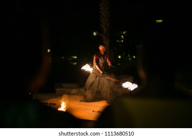 Phuket/Thailand - 10 November, 2016: Fire performers doing a show at night.