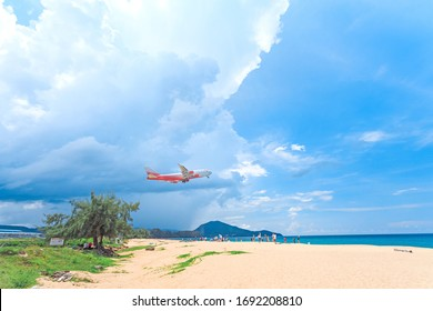 Phuket/Thailand - 13.10.2019 A plane taking off Over the airspace on high season in Phuket