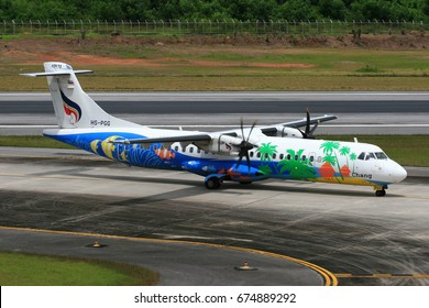 Phuket-Thailand, 19 OCT 11: ATR72-500 of Bangkok Airways (a domestic-regional airlines based in Bangkok.) as seen taxiing at Phuket Airport. Aircraft registration, HS-PGG.