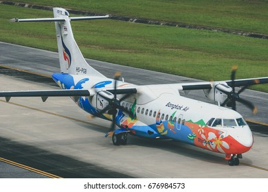 Phuket-Thailand, 19 OCT 11: ATR72-500 of Bangkok Airways (a domestic-regional airlines based in Bangkok.) as seen taxiing at Phuket Airport. Aircraft registration, HS-PGB.