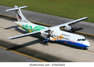 Phuket-Thailand, 20 OCT 11: ATR72-500 of Bangkok Airways (a domestic-regional airlines based in Bangkok.) as seen taxiing at Phuket Airport. Aircraft registration, HS-PGC.