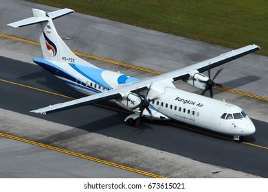 Phuket-Thailand, 27 NOV 16: ATR72-600 of Bangkok Airways (a domestic-regional airlines based in Bangkok.) as seen taxiing at Phuket Airport. Aircraft registration, HS-PZE.