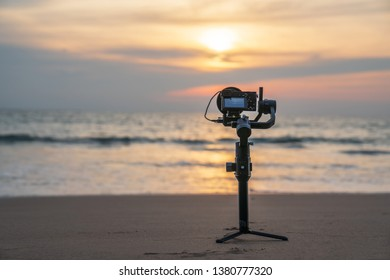 Phuket,Thailand April/ 23 /2019,DJI gimball ronin s with Sony A6500 setting for cinema beach subset