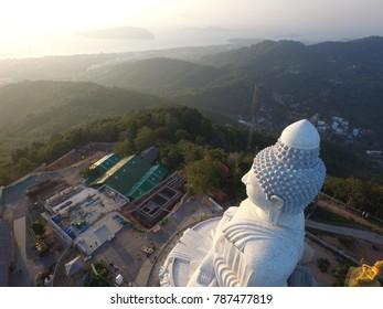 Phuket,Thailand - CIRCA March 2016 Aerial of big buddha morning sunrise