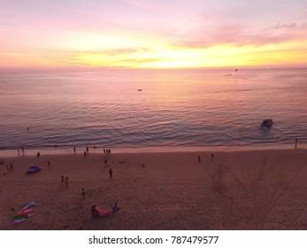 phuket,thailand - CIRCA March 2016 : golden sunset wedding karon beach