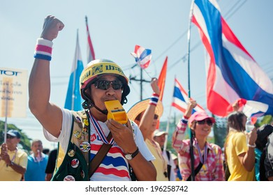 PHUKET,THAILAND - DECEMBER 9, 2013 : Unidentified  people celebrate the resignation of the government, Phuket Town