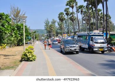 PHUKET,THAILAND - FEBRUARY 26,2011: road transport on the roads of Karon beach