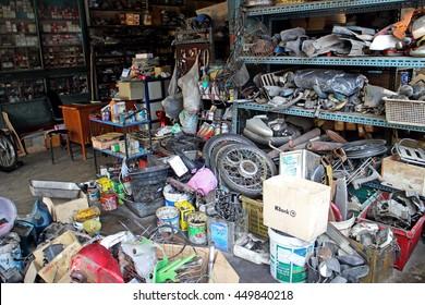 PHUKET,THAILAND JUNE 08, 2016: Motorcycle repair shops in Phuket old town, Thailand. June 08, 2015.