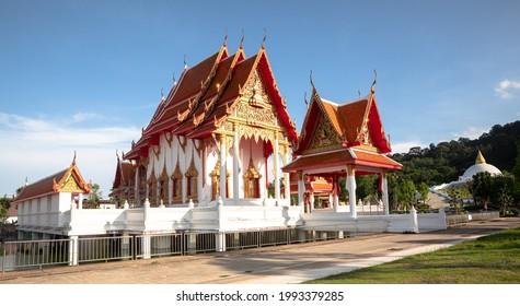 PHUKET,THAILAND - JUNE 17, 2021 : The new white pagoda and buildings in Wat Laung Puu Supang ;Budda Temple