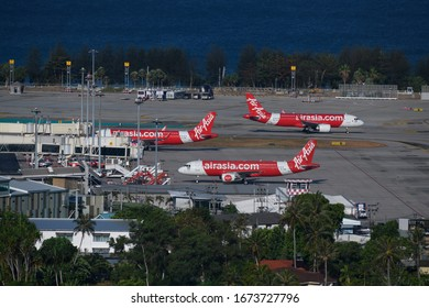 Phuket/Thailand - March 16,2020 : 3 Airasia plane operate at Phuket airport while less flight operation due to effect of Corona virus COVID19