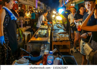 PHUKET,THAILAND - SEP. 3 : Phuket weekend market facade on September 3, 2017 in Phuket, Thailand.It's a fascinating jumble of secondhand goods, curios, pirated items and amount of great local food.