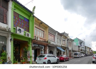 PHUKET,THAILAND - SEPT. 1 : Phuket town facade on September 1, 2017 in Phuket, Thailand. It is historical town forming part of Phuket City and there are some great Thai-style shopping opportunities.