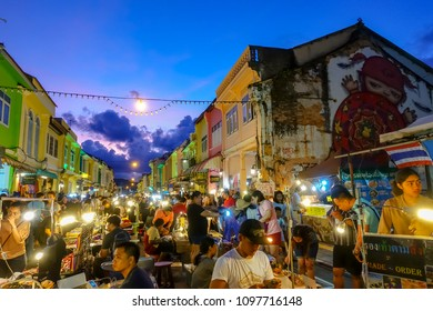 PHUKET,THAILAND - SEPT. 3 : Phuket weekend market facade on September 3, 2017 in Phuket, Thailand.It's a fascinating jumble of secondhand goods, curios, pirated items and amount of great local food.