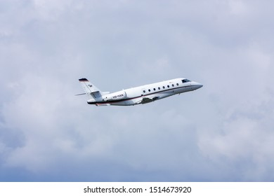 Phuket,Thailand.December 25,2016.Rare Private Aviation Gulfstream 200 Code HS-HAN  Take Off From Phuket International Airport