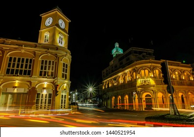 Phuket,Thailand-June 16 ,2012: Phuket clock  tower is most of tourist attraction – Beautiful building of vintage Sino Portuguese  was build since 1914  in Phuket Old Town at night shot.