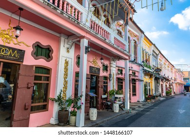 PHUKET,THAILAND-MARCH 8,2019: Old Sino-Portuguese building That has been restored Many places are renovated into shops. Is popular with tourists