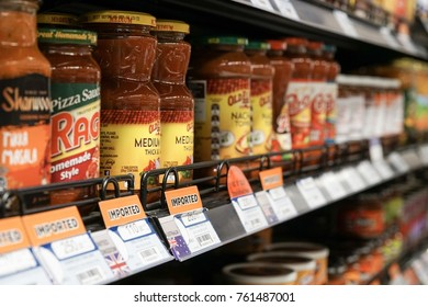 Phuket,Thailand-Nov 23 ,2017 :07.00 pm Large selection of pizza sauce in supermarket of Boat Lagoon Resort