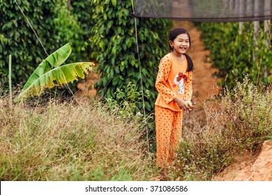 PHUQUOC ISLAND, VIETNAM - JAN 23, 2016: The Vietnamese girl on a pepper farm near DuongDong town
