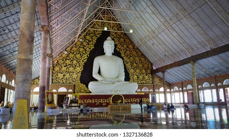 Phurua, Loei, Thailand - Cieca December, 2018: Wat Pa Huai Lat The location of the large white Buddha statue Built to be a tourist attraction of Phu Ruea District, Loei Province