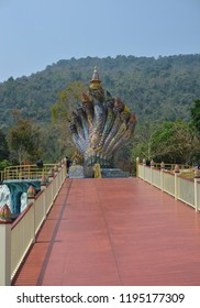 Phurua, Loei, Thailand - March 17, 2018: The art sculpture of Naga with nine heads was built at Wat Pa Huay Lad, it was created to be a tourist attraction of Phu Rua District of Loei Province