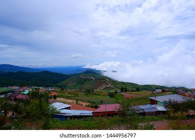 Phutubberk at Lomkao Phetchabun,Thailand - July 7 2019 : Mountain mist and resort camping in Phutubberk most famous travel place in Phetchabun Thailand