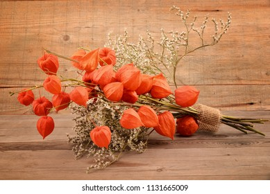 Physalis alkekengi on wooden background. Orange lanterns of physalis alkekengi for autumn decoration.
