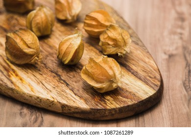 Physalis Berries with on the wooden background
