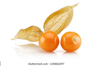 Physalis fruit (golden berry) on white background