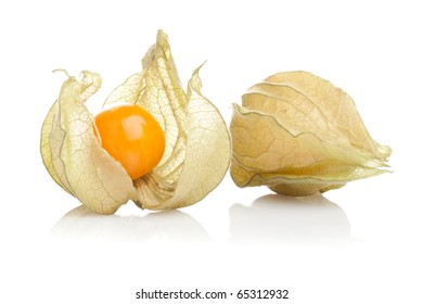 Physalis fruit on white background