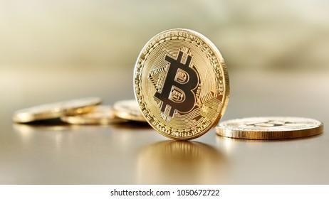 Physical bitcoins on table