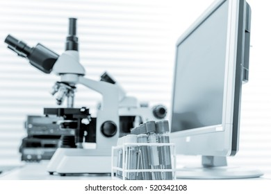 Physical chemistry laboratory equipment. Toned Image