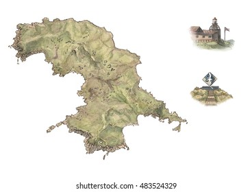 Physical color map of Isla Hornos / Cape Horn in Tierra del Fuego (Chile), with spot illustrations of the monument and lighthouse - white no background