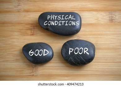 Physical condition, Good, Poor. Conceptual image.