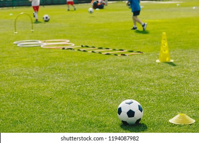 Physical Education Class. Soccer Training Session on the Grass Sports Field. Football Training Equipment. Traditional Soccer Ball, Speed and Agility Training Ladder, Cones. Kids Playing Sports Outdoor