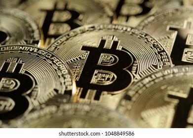 Physical golden bitcoin coins